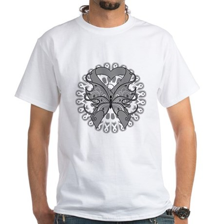 Brain Cancer Butterfly White T-Shirt