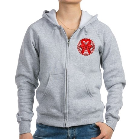Blood Cancer Butterfly Women's Zip Hoodie