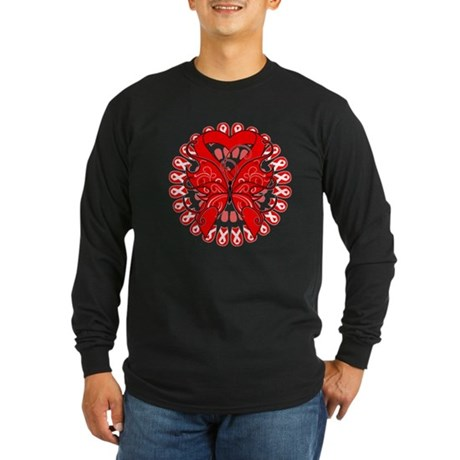 Blood Cancer Butterfly Long Sleeve Dark T-Shirt