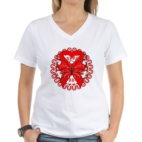 Blood Cancer Butterfly Women's V-Neck T-Shirt