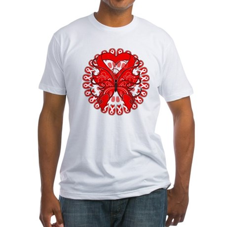 Blood Cancer Butterfly Fitted T-Shirt
