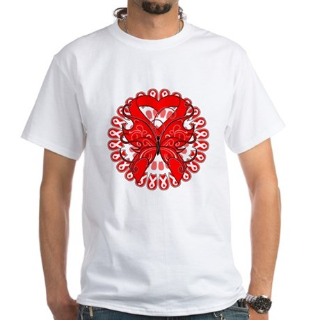 Blood Cancer Butterfly White T-Shirt