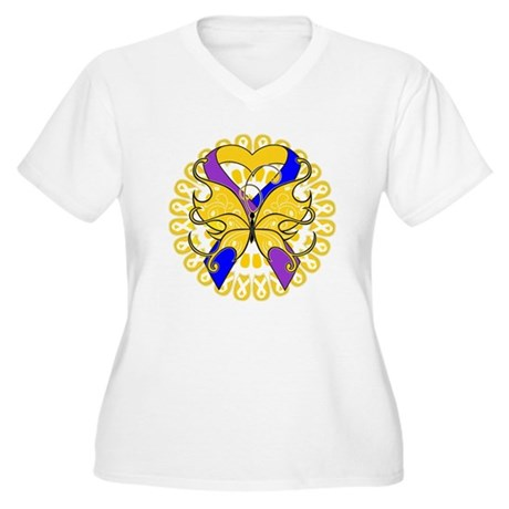 Bladder Cancer Butterfly Women's Plus Size V-Neck