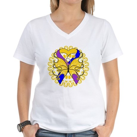 Bladder Cancer Butterfly Women's V-Neck T-Shirt