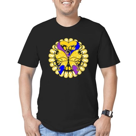 Bladder Cancer Butterfly Men's Fitted T-Shirt (dar
