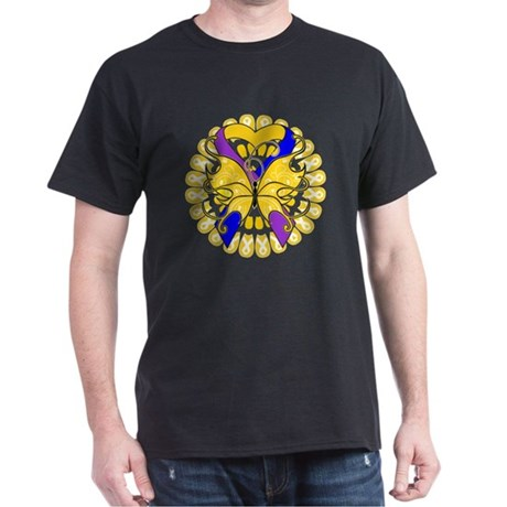 Bladder Cancer Butterfly Dark T-Shirt