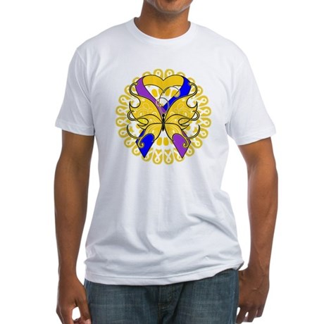 Bladder Cancer Butterfly Fitted T-Shirt
