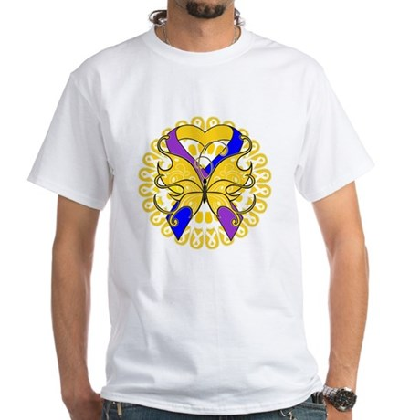 Bladder Cancer Butterfly White T-Shirt