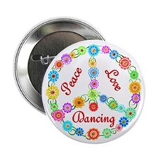 "Dancing Peace Sign 2.25"" Button (100 pack)"