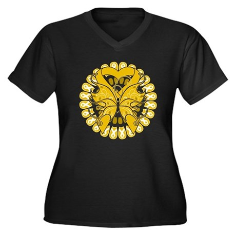Appendix Cancer Butterfly Women's Plus Size V-Neck