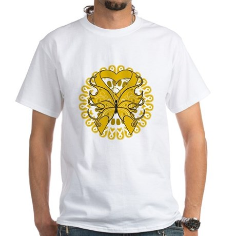 Appendix Cancer Butterfly White T-Shirt