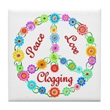 Clogging Peace Sign Tile Coaster