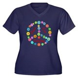 Camping Peace Sign Women's Plus Size V-Neck Dark T