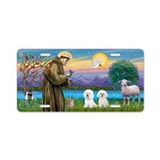 St Francis/two Bichon Frise Aluminum License Plate