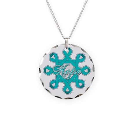 Ovarian Cancer Hope Unity Necklace Circle Charm