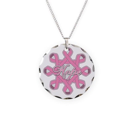 Breast Cancer Hope Unity Necklace Circle Charm