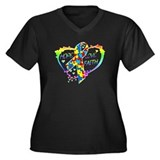 Hope Love Faith Women's Plus Size V-Neck Dark T-Sh