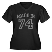 Made In 74 Women's Plus Size V-Neck Dark T-Shirt
