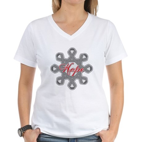 Brain Cancer Hope Unity Women's V-Neck T-Shirt
