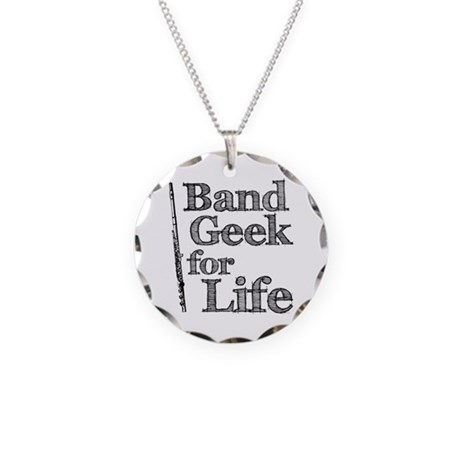 Flute Band Geek Necklace Circle Charm