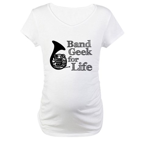 French Horn Band Geek Maternity T-Shirt