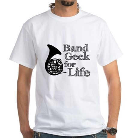 French Horn Band Geek White T-Shirt