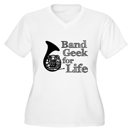 French Horn Band Geek Women's Plus Size V-Neck T-S