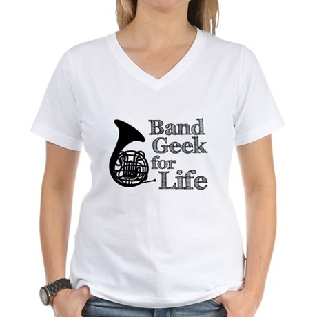 French Horn Band Geek Women's V-Neck T-Shirt