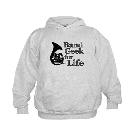 French Horn Band Geek Kids Hoodie