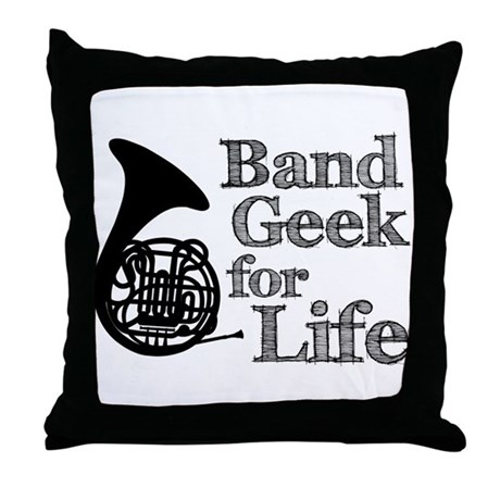 French Horn Band Geek Throw Pillow