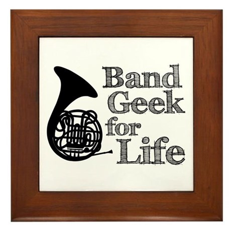 French Horn Band Geek Framed Tile