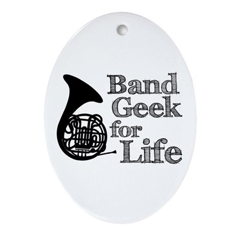 French Horn Band Geek Ornament (Oval)