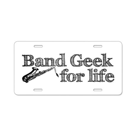 Saxophone Band Geek Aluminum License Plate