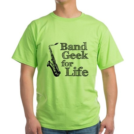 Saxophone Band Geek Green T-Shirt