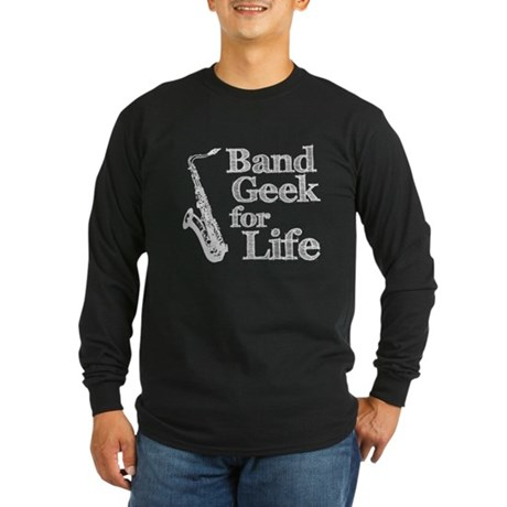 Saxophone Band Geek Long Sleeve Dark T-Shirt