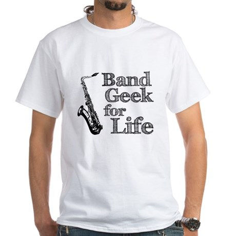 Saxophone Band Geek White T-Shirt