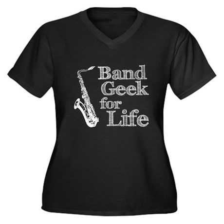 Saxophone Band Geek Women's Plus Size V-Neck Dark