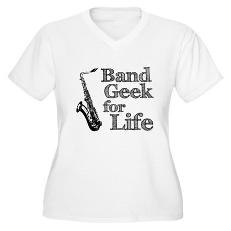 Saxophone Band Geek Women's Plus Size V-Neck T-Shi