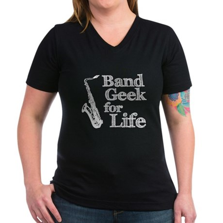 Saxophone Band Geek Women's V-Neck Dark T-Shirt