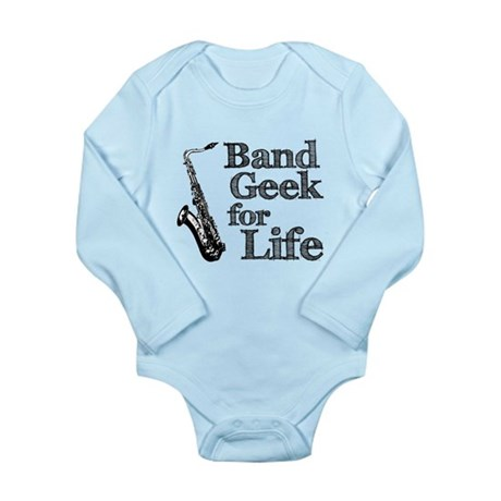 Saxophone Band Geek Long Sleeve Infant Bodysuit