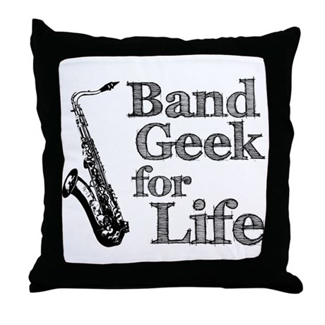 Saxophone Band Geek Throw Pillow