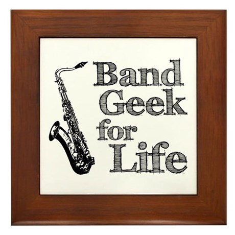 Saxophone Band Geek Framed Tile