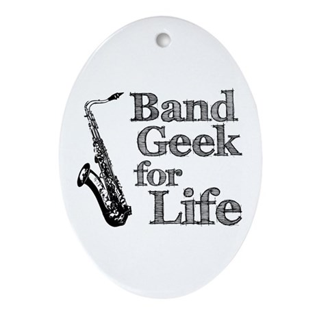 Saxophone Band Geek Ornament (Oval)