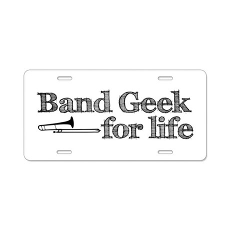 Trombone Band Geek Aluminum License Plate