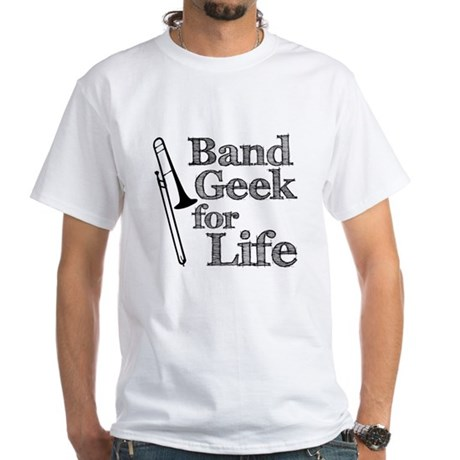 Trombone Band Geek White T-Shirt