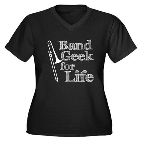 Trombone Band Geek Women's Plus Size V-Neck Dark T