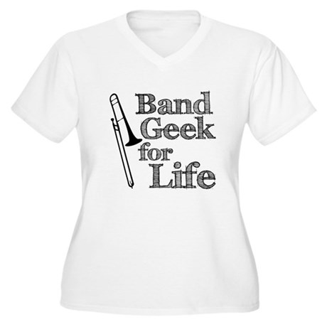 Trombone Band Geek Women's Plus Size V-Neck T-Shir