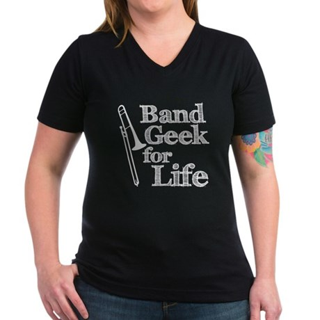 Trombone Band Geek Women's V-Neck Dark T-Shirt