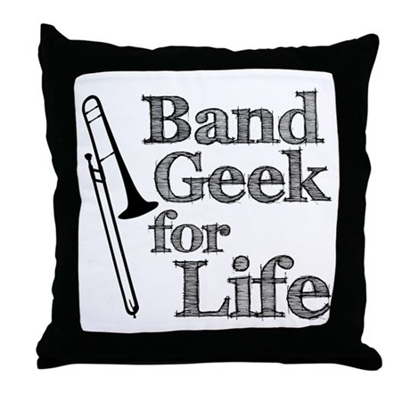 Trombone Band Geek Throw Pillow