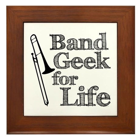 Trombone Band Geek Framed Tile